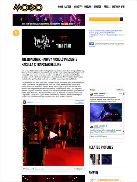 Haculla Featured on Mobo: The Rundown: Harvey Nichols Presents Haculla X Trapstar Redline