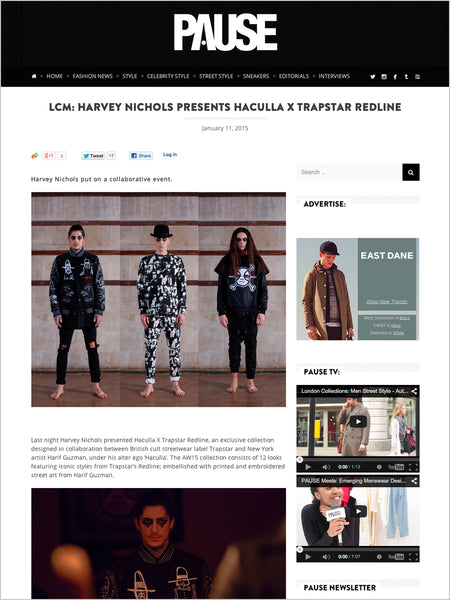 Haculla Featured on Pause: LCM: Harvey Nichols presents Haculla x Trapstar Redline