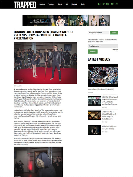 Haculla Featured on Trapped: London Collections Men | Harvey Nichols Presents Trapstar Redline X Haculla Presentation
