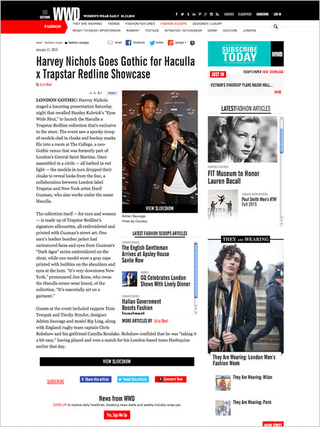 Haculla Featured on WWD: Harvey Nichols Goes Gothic for Haculla x Trapstar Redline Showcase