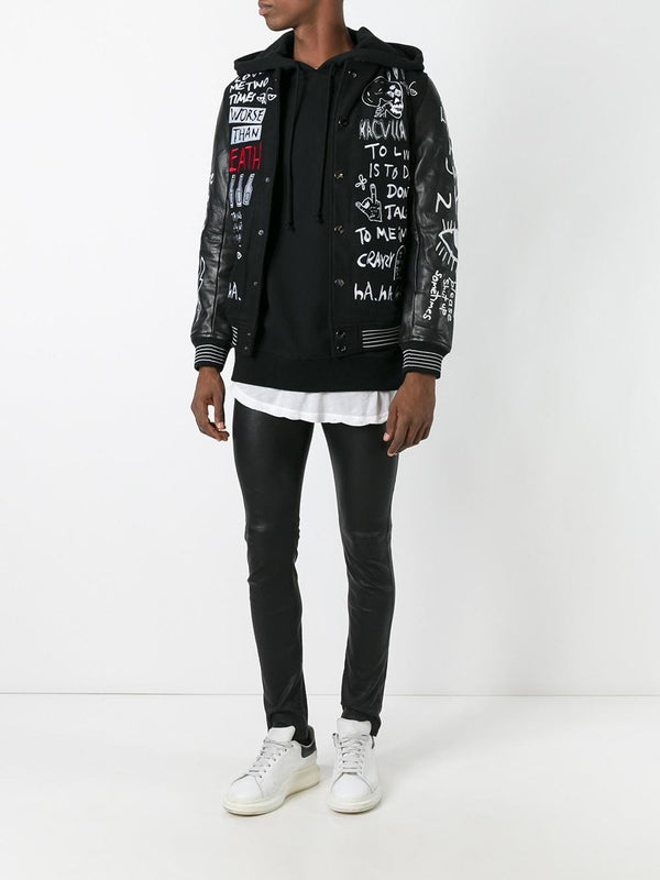COLLECTIVE VARSITY JACKET WITH LEATHER SLEEVES