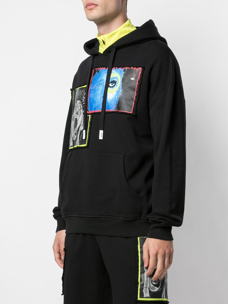 OVERLAP DROP SHOULDER HOODIE BLACK