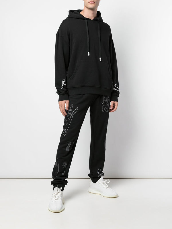 SNAKE DROP SHOULDER HOODIE BLACK