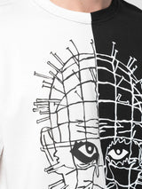 SPLIT IN HALF MASKED PINS TEE BLACK/WHITE