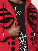 MASKED DROP SHOULDER HOODIE RED