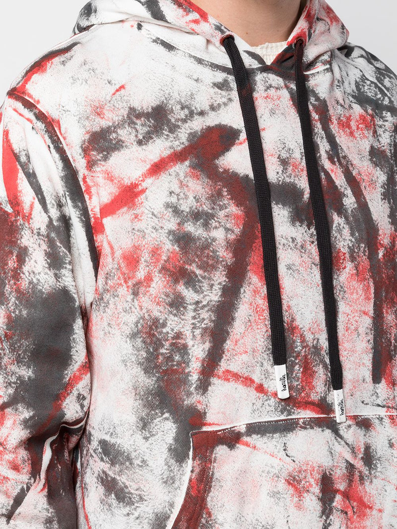 HAND PAINTED HOODIE BLACK/RED