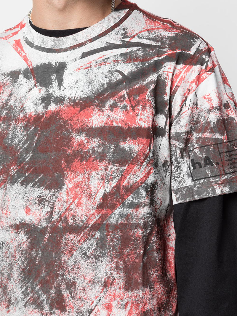 HAND PAINTED TEE BLACK/RED