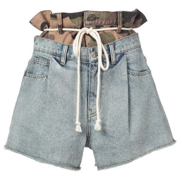 DOUBLE HAC DENIM SHORTS BLUE DENIM/ JUNGLE CAMO