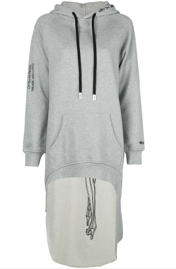 PARDON EXTENDED HOODIE HEATHER GREY
