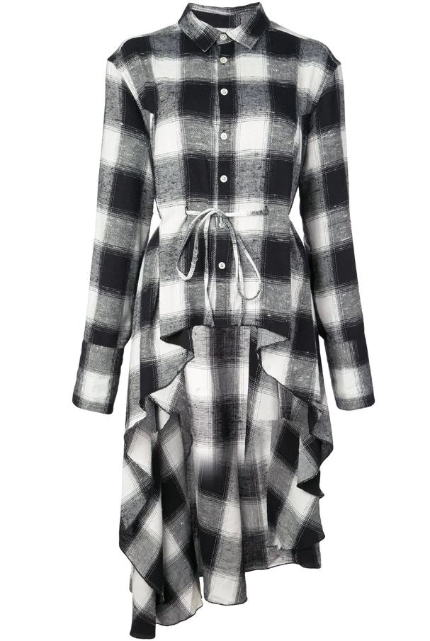 SIGNATURE WOVEN DRESS BLACK/ WHITE PLAID