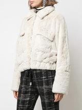 EYES ON THE BACK FUR JACKET LT CREAM