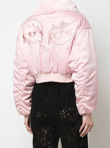 SIGNATURE EYES CROPPED BOMBER PINK