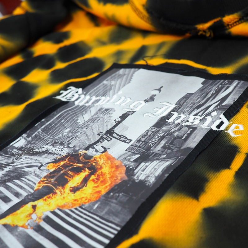 BURNING CREWNECK BLACK/ORANGE CIRCLE TIE DYE