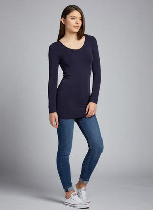 Long Sleeve Bamboo Scoop Neck