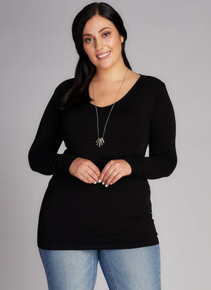Curvy Bamboo Long Sleeve V-Neck