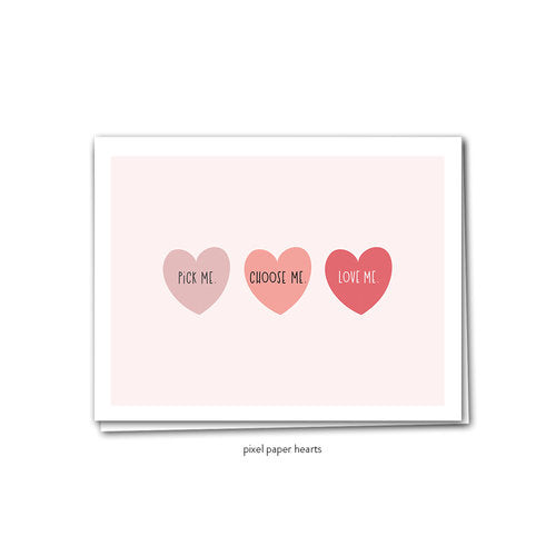 Pixel Paper Hearts Greeting Cards