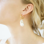 Coral Baroque Pearl Hoop Earrings Kira