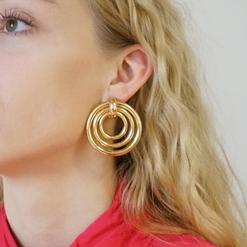 Chunky Gold Statement Earrings Madrid