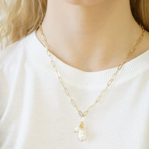 Double Pearl Gold-plated Necklace