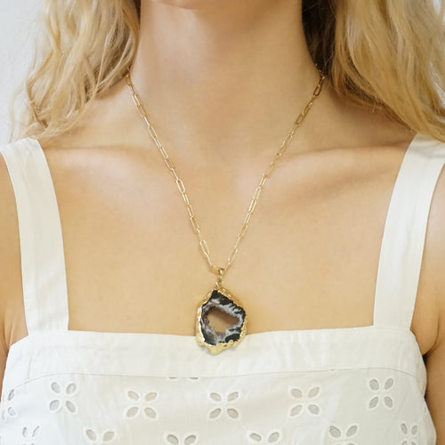 Druzy Agate Gemstone Necklace