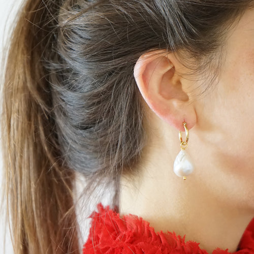 Hoop Earrings Baroque Pearls Kira