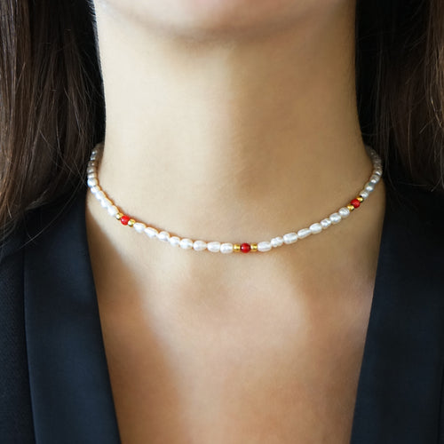 Pearl Necklace Mona with Corals