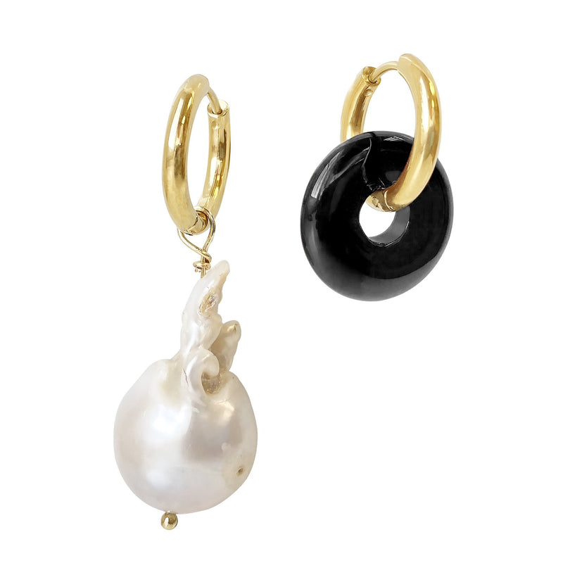 Onyx Baroque Pearl Hoop Earrings Ava
