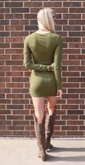 BOBI Cargo Green TRUSSED Corset Waist Supreme Jersey Dress
