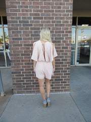 INTO THE RUSH Blush Open FlutterSleeve Short Romper