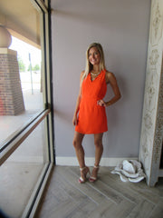 COPPER PENNY Scalloped Trim V-Neck Dress