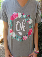 CALAMITY JANE Grey OKLAHOMA Flower Wreath V-Neck Tee Top