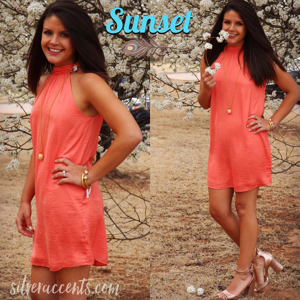 SUNSET Mock TieNeck Matte Satin Dress