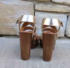 Gold RADIANCE Metallic Strappy Lightweight Wood Heel Sandal Shoe