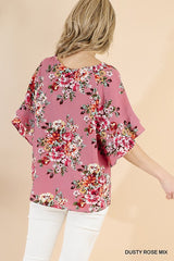 ANGELIC Layer Ruffle Sleeve Rose Top