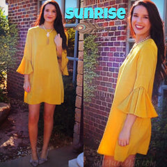 SUNRISE MatteSatin Bell Sleeve Tunic Dress