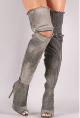 KIMMY Thigh High Distressed Denim Peeptoe Boot