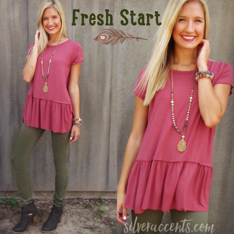 FRESH START Bamboo Jersey Tiered Tunic Top