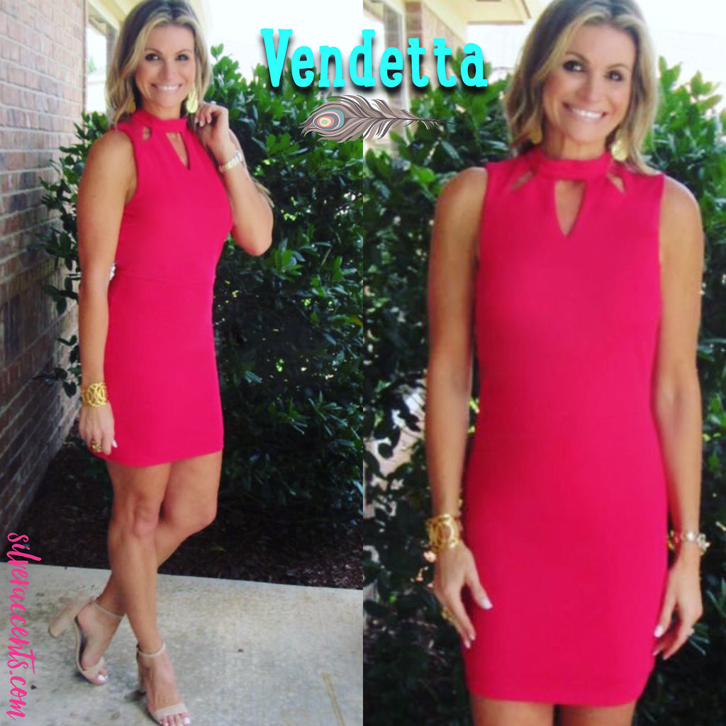VENDETTA Cutout Neck Textured Bodycon Dress