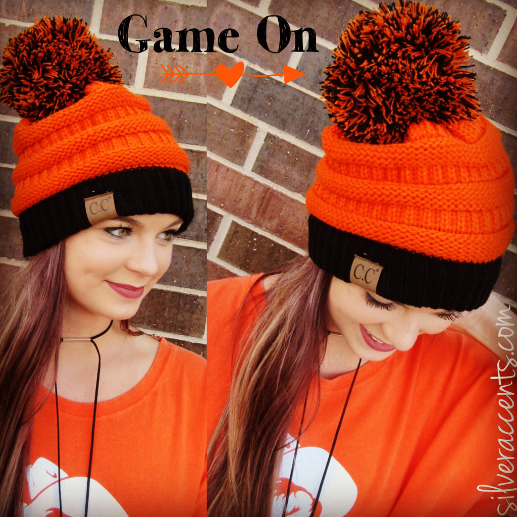 GAME ON CC Pom CableKnit Beanie Hat