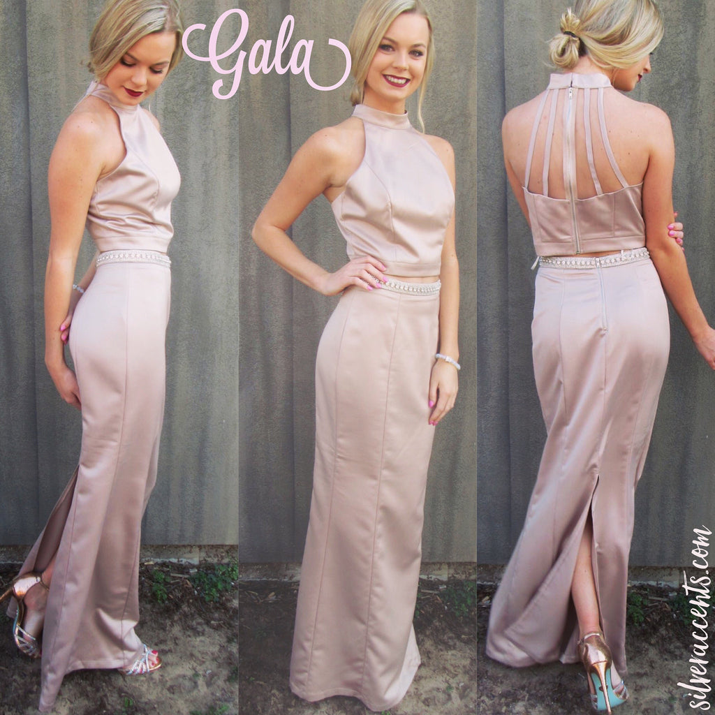 GALA 2pc Satin Crystal Embellished Strappy Back Dress