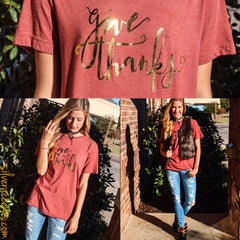 GIVE THANKS Foil Logo Triblend Crewneck Tee Top