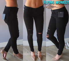 FLYING MONKEY MidRise OPTIC BLACK Distressed Skinny Jean