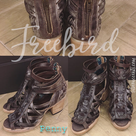 FREEBIRD by STEVEN Brown PENNY Stacked Heel Shootie Shoe