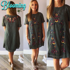 BLOOMING Embroidered Floral ShortSleeve A-Line Dress