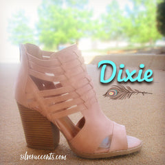 DIXIE Blush Strappy Stacked Heel Bootie Sandal