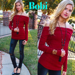 BOBI Thermal Knit SHERIDAN OffShoulder Tunic Top
