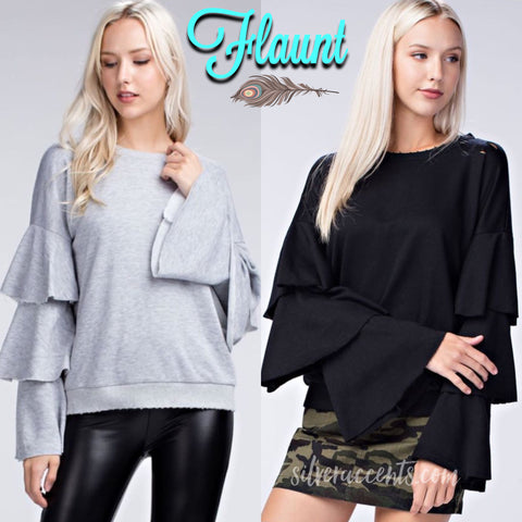 FLAUNT Layered Trumpet Sleeve Distressed Fleece Top