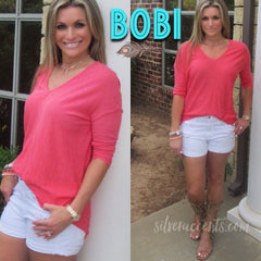 BOBI 3/4 Sleeve WALK ON THE BEACH Slub HiLo V-Neck Tunic Top