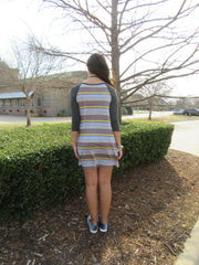 CHILL Stripe Jersey Raglan Sleeve Dress