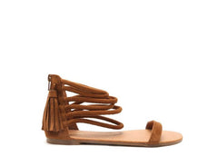 PAGOSA Camel Strappy Tassel Sandal Shoes